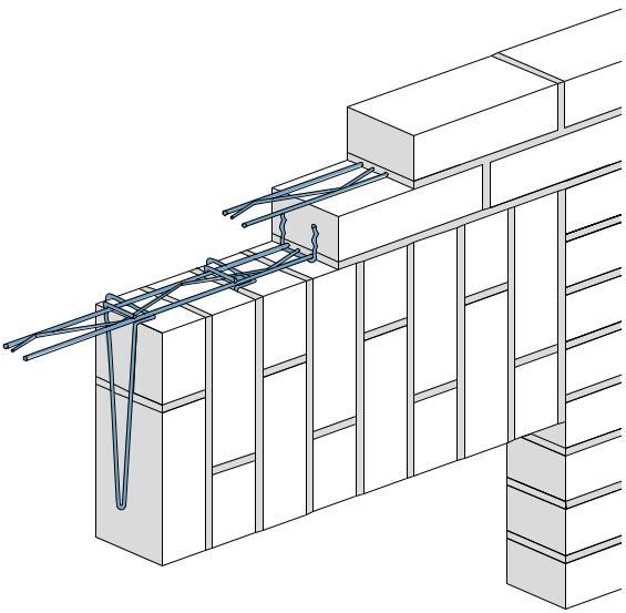 Pārsedzes stiprinājumi pusotra ķieģeļa vertikālai mūrēšanai